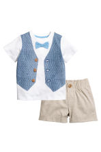 T-shirt and shorts - White/Beige - Kids | H&M 1