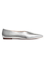 Leather ballet pumps - Silver - Ladies | H&M CN 2