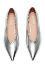 Leather ballet pumps - Silver - Ladies | H&M CN 3