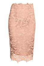Lace pencil skirt - Powder beige - Ladies | H&M CN 1