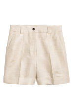 Linen-blend shorts - Natural white -  | H&M CN 2