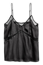 Satin top with mesh - Black - Ladies | H&M 2
