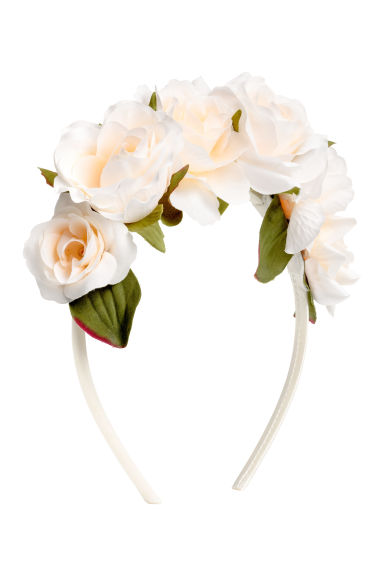 Alice band with flowers - White -  | H&M 1