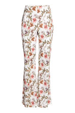 Flared trousers - Natural white/Floral - Ladies | H&M CN 2