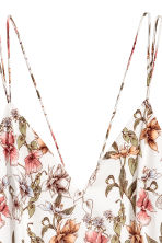 V領細肩帶上衣 - Natural white/Floral - Ladies | H&M 3