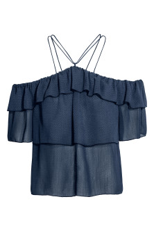 Off-Shoulder-Shirt mit Volants