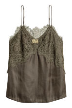 Lace-trimmed top - Khaki green -  | H&M 2
