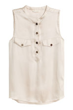 Sleeveless satin top - Light beige - Ladies | H&M CN 2