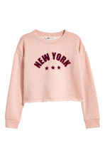 Cropped sweatshirt - Powder pink/New York -  | H&M 2