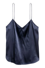 Top in seta con scollo a V - Blu scuro -  | H&M IT 2