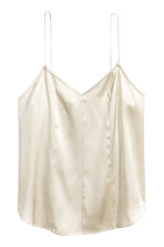 Silk V-neck camisole - Light beige - Ladies | H&M CN 2