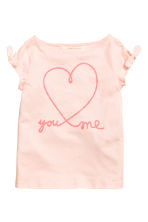 Printed jersey top - Light pink/Heart -  | H&M CN 2
