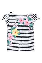Printed jersey top - White/Dark blue/Striped -  | H&M 2