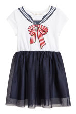 Dress with a tulle skirt - White/Dark blue -  | H&M CN 2