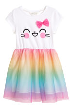 Dress with a tulle skirt - White/Multicoloured - Kids | H&M CN 2