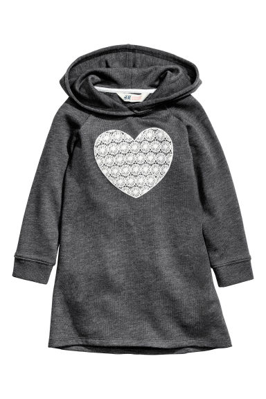 Sweatshirt dress - Dark grey/Heart - Kids | H&M 1