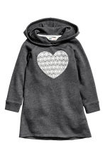 Sweatshirt dress - Dark grey/Heart - Kids | H&M CN 1