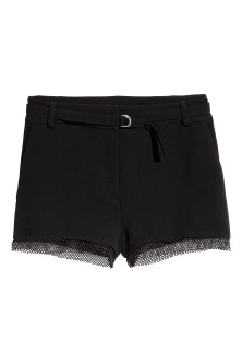 Shorts with mesh trims