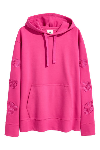 Hooded top with embroidery - Cerise - Men | H&M 1