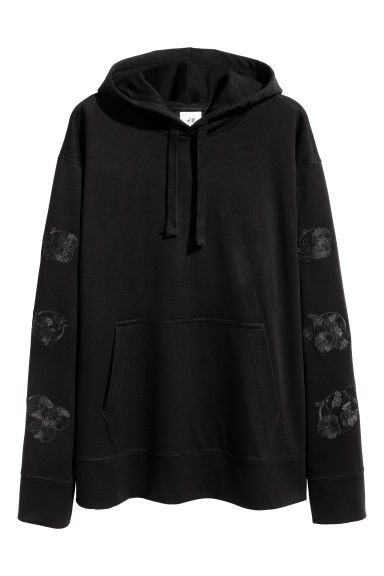 Hooded top with embroidery - Black - Men | H&M 1