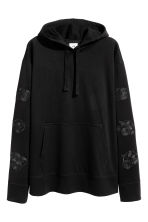 Hooded top with embroidery - Black - Men | H&M CN 1