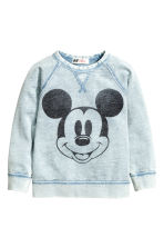 图案卫衣 - Light blue/Mickey Mouse -  | H&M CN 1