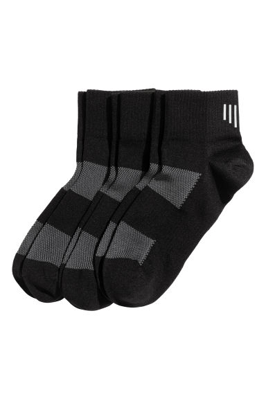 3-pack running socks - Black -  | H&M CN 1