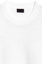 Fine-knit linen-blend T-shirt - White - Men | H&M CN 3