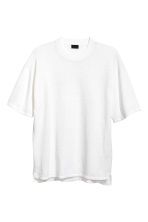 Fine-knit linen-blend T-shirt - White - Men | H&M CN 2