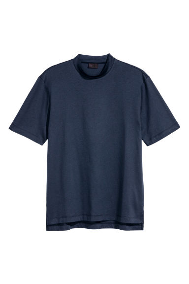 Pima cotton and silk T-shirt - Dark blue -  | H&M CN 1