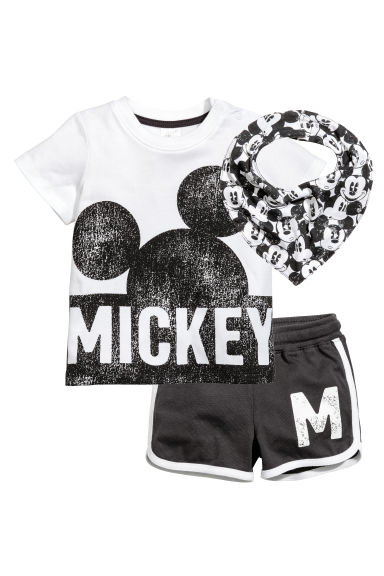 3-part jersey set - White/Mickey Mouse - Kids | H&M 1