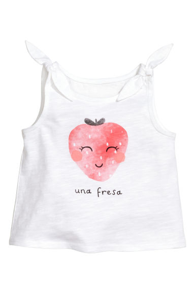 Jersey top - White/Strawberry -  | H&M CN 1