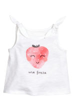 Jersey top - White/Strawberry -  | H&M 1