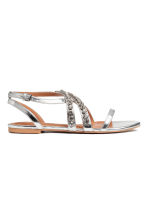 Sparkly stone sandals - Silver - Ladies | H&M 1