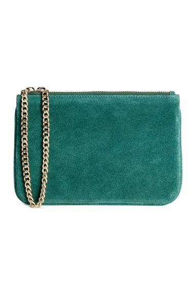 Suede pouch bag with a chain - Dark green - Ladies | H&M GB 1