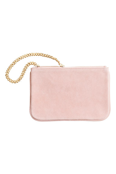 Suede pouch bag with a chain - Light pink - Ladies | H&M CN 1