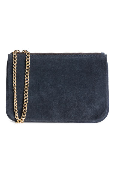 Suede pouch bag with a chain - Dark blue - Ladies | H&M 1