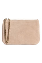 Suede pouch bag with a chain - Light beige - Ladies | H&M 1