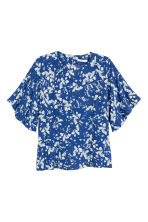 Blouse with trumpet sleeves - Dark blue/Floral - Ladies | H&M 2