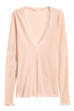 Ribbed top - Powder pink - Ladies | H&M CN 2