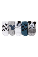 5-pack shaftless socks - Grey/Mickey Mouse - Kids | H&M 1