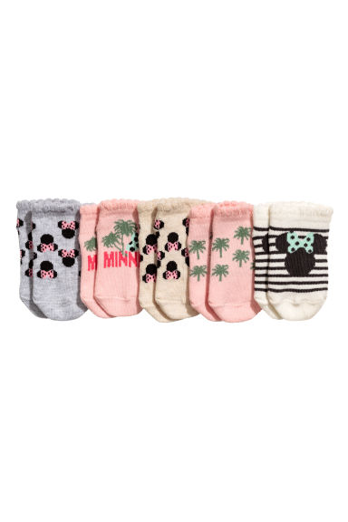 5-pack socks - Light pink/Minnie Mouse - Kids | H&M 1