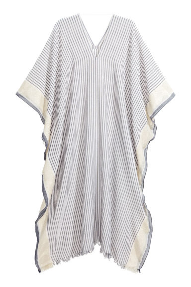 Poncho - Natural white/Blue/Striped - Ladies | H&M CN