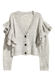 Knitted frilled cardigan