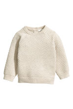 Textured-knit cotton jumper - Light beige - Kids | H&M 1