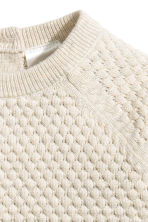 Textured-knit cotton jumper - Light beige - Kids | H&M 2