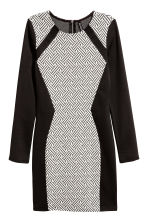 Fitted jersey dress - Black/White - Ladies | H&M CN 2