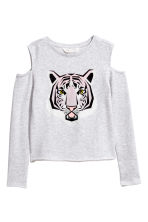 Cold shoulder sweatshirt - Light grey/Tiger - Kids | H&M CN 2