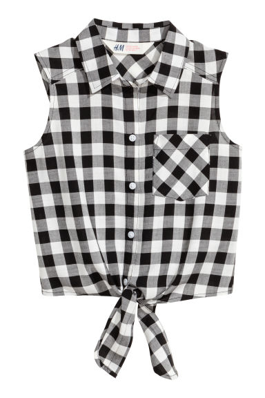 Generous fit Tie-front blouse - Black/White/Checked - Kids | H&M CN 1