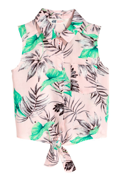 Generous fit Tie-front blouse - Light pink/Leaf - Kids | H&M CA